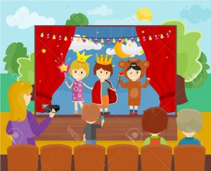 photostock-vector-three-children-in-costumes-performing-theater-play-on-stage-little-children-dressed-as-a-prince-prin